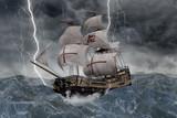 3D Segelschiff Galeone in stürmischer See