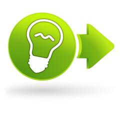 ampoule sur symbole web vert
