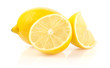 Lemon with Half and Slice Isolated on White Background