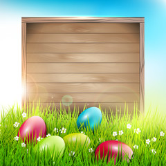 Easter background with eggs and wooden sign