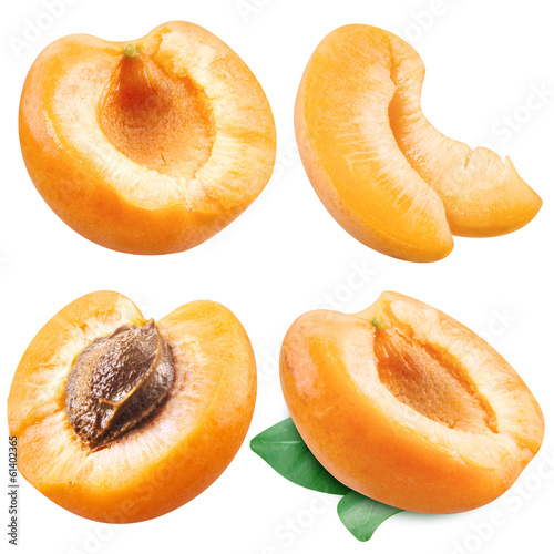 Collection of apricots isolated on white
