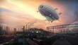 Leinwandbild Motiv Dirigible in sky over