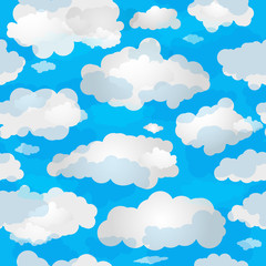 Spring seamless pattern wuth clouds