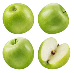 Green apple collection. set of fruit isolated on white