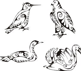 birds in tribal style