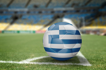 Greece soccer ball on the soccer field