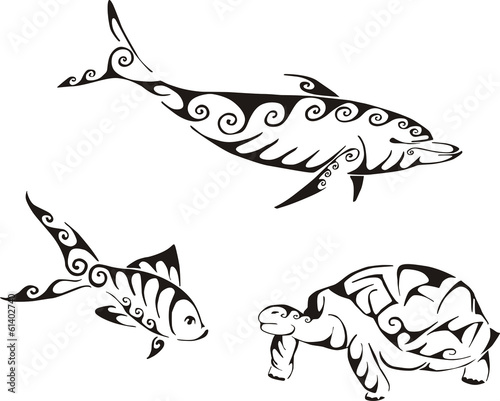 Dolphin, fish and turtle in tribal style