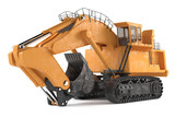 Hard big excavator isolated at the white background