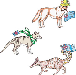 Australian animals - dingo, thylacine, numbat