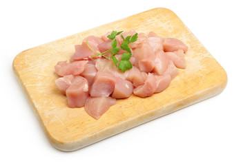 Raw Diced Chicken Breasts