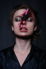 closeup of woman with a realistic damage of nouse