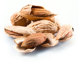 Almond. Group of nuts in kernel Isolated on a white background.