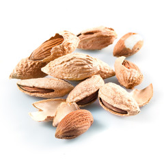 Almond; group of nuts in kernel Isolated on a white background.