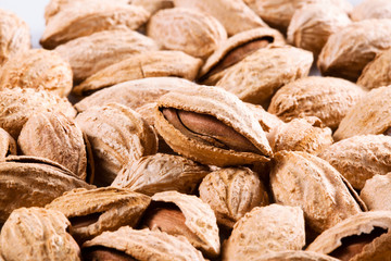 Almond. Group of nuts in kernel Isolated on white background