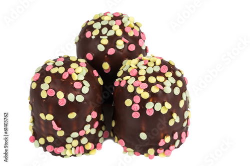 marshmallow in chocolate with sugar decorations