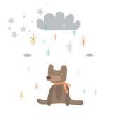 Baby bear and magic rain - 61404183