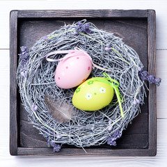 Easter eggs in vintage box