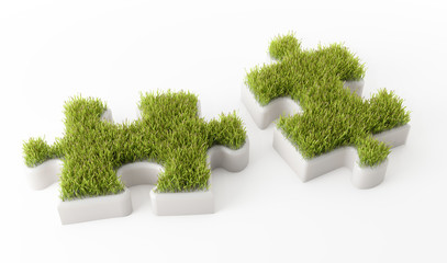 Grass covered puzzle pieces