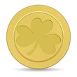 gold coin with the image of  shamrock clover