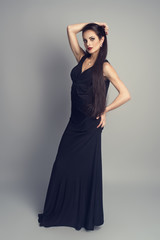 Fashion model with straight long hair and professional makeup