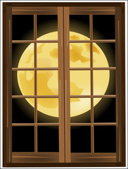 The moon outside the window