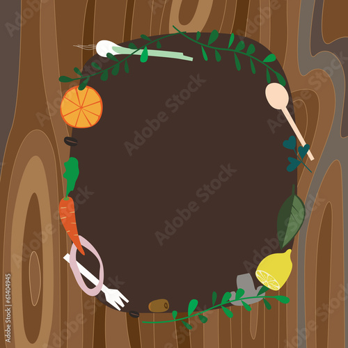 Recipe frame on wood background