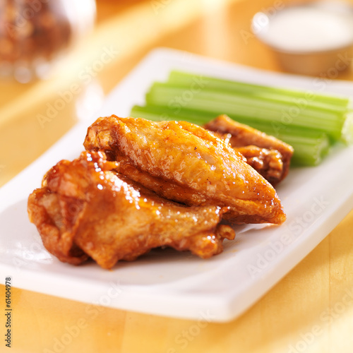 chicken buffalo wings close up