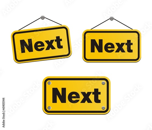 next - yellow signs