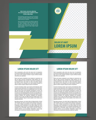 Vector empty brochure template design with green elements