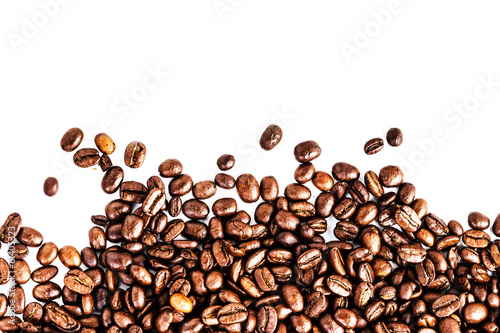 Fotobehang Koffiebonen Brown roasted coffee beans isolated on white background. Arabic