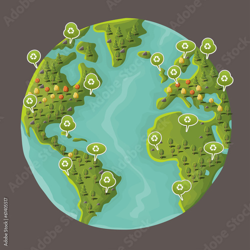 Planet earth with speech balloon with recycle icon