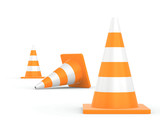 Road traffic cone isolated on white background