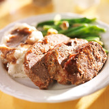meatloaf with greenbeans and mashed potatoes