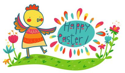 buona Pasqua illustrazione divertente