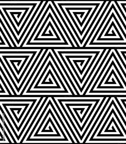 Triangles, Black and White Abstract Seamless Geometric Pattern © studioshot