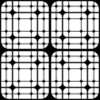 Geometric Tiles with Rounded Squares Vector seamless pattern