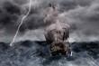 3D Segelschiff Galeone in stürmischer See - 61406186