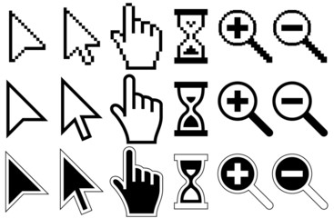 Pixel Cursors Icons, Mouse, Hand, Arrow, Hourglass, Magnifier Gl