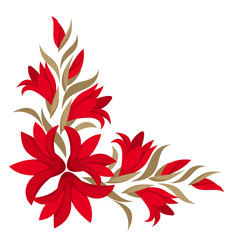 Red gladiolus flowers. Vector illustration.