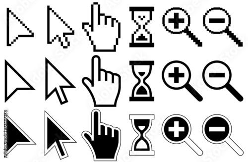 Ikony kursora pikseli, mysz, ręka, strzałka, klepsydra, Lupa Gl