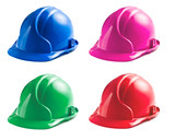 various colors of hard hats