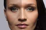 Comparison of a beautiful woman before and after retouching poster