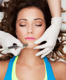 Skin rejuvenation concept,  laser face treatment poster