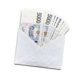 czech money in envelope