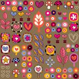 Fototapeta hearts & flowers pattern
