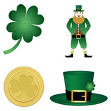 clover, leprechaun, hat and gold coin