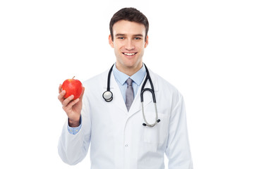 Doctor holding an apple