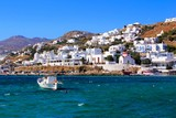 Vibrant harbor at the town of Mykonos, Greece