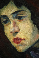 ancient portrait of the girl on a rough canvas,  illustration