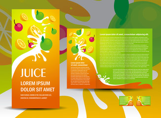 brochure folder juice fruit drops liquid orange green apple